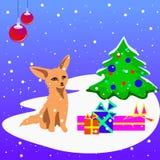 Una tarjeta de Navidad del vector con un cachorro, un árbol de navidad y presentes del zorro Fotografía de archivo libre de regalías