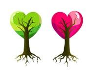 Una tarjeta del día de San Valentín con un par de árboles en forma de corazón Foto de archivo libre de regalías