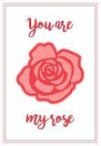 Una tarjeta del día del ` s de la tarjeta del día de San Valentín con color de rosa y el saludo Fotos de archivo