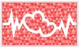 Una tarjeta del día del ` s de la tarjeta del día de San Valentín con dos corazones Fotos de archivo