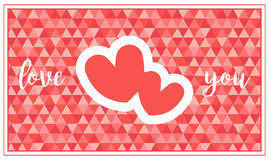 Una tarjeta del día del ` s de la tarjeta del día de San Valentín con dos corazones y saludos Fotos de archivo