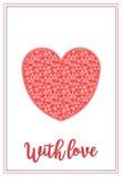Una tarjeta del día del ` s de la tarjeta del día de San Valentín con el corazón grande con el modelo dentro Fotografía de archivo libre de regalías