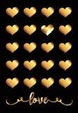 Una tarjeta del día del ` s de la tarjeta del día de San Valentín con las decoraciones negras del fondo y del oro Foto de archivo libre de regalías