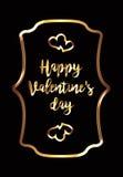 Una tarjeta del día del ` s de la tarjeta del día de San Valentín con las decoraciones negras del fondo y del oro Fotografía de archivo