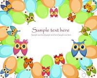 Una tarjeta hermosa con los globos y los búhos Fotografía de archivo libre de regalías