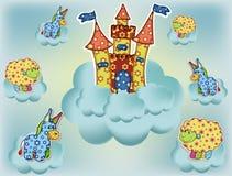 Una tarjeta hermosa con un castillo Fotos de archivo libres de regalías
