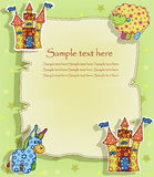 Una tarjeta hermosa con un castillo y los animales Imágenes de archivo libres de regalías