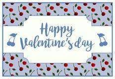 Una tarjeta horizontal para el día del ` s del stValentine con día feliz de saludo del ` s de la tarjeta del día de San Valentín Foto de archivo