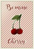 Una tarjeta horizontal para el día del ` s del stValentine con el saludo sea cereza de la mina Imágenes de archivo libres de regalías