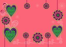Una tarjeta o un fondo con las flores y los corazones Fotos de archivo libres de regalías