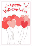 Una tarjeta para el día del ` s de la tarjeta del día de San Valentín con los globos y el saludo Fotos de archivo libres de regalías