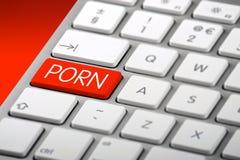 Una tastiera con una chiave di pornografia Immagini Stock Libere da Diritti