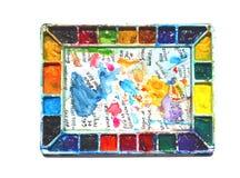 Una tavolozza del Watercolorist Fotografia Stock