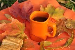 Una taza anaranjada de té, de hojas de arce coloridas y de galletas en una superficie anaranjada Fotos de archivo libres de regalías