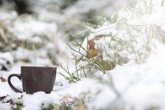 Una taza con una bebida caliente en el cacao caliente del bosque del invierno con el cinn Imagen de archivo