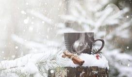 Una taza con una bebida caliente en el cacao caliente del bosque del invierno con el cinn Fotos de archivo