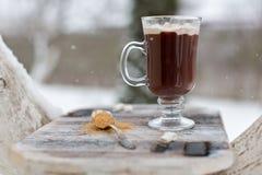 Una taza de cacao en la helada Fotografía de archivo