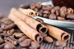 Una taza de café con los granos de café y los palillos de canela Imagen de archivo libre de regalías
