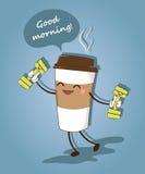 Una taza de café divertida Buenos días Ilustración del vector Fotos de archivo libres de regalías