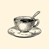 Una taza de café en un platillo con una cuchara Ejemplo del vector en estilo del bosquejo Fotografía de archivo