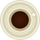 Una taza de café express caliente con espuma Fotografía de archivo