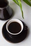 Una taza de café sólo, de Turka y de planta verde Imágenes de archivo libres de regalías