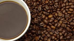 Una taza de café sólo sobre los granos de café asados fotografía de archivo