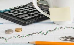 Una taza de café, una calculadora, monedas, un lápiz en el lugar de trabajo fotografía de archivo