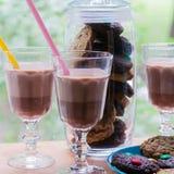 Una taza de chocolate caliente con las galletas Fotos de archivo