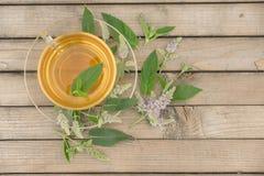 Una taza de cristal con té de oro con los soportes de las hojas y de flores de la menta en un platillo y en una tabla de madera e Fotos de archivo