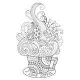 Una taza de diseño caliente del zentangle del café para el libro de colorear para el adulto stock de ilustración
