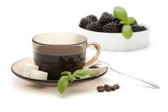 Una taza de frutas del café Fotografía de archivo libre de regalías