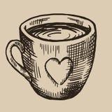 Una taza de grabado del té Mercancías de cerámica con un corazón Ejemplo del vector en estilo del bosquejo Fotografía de archivo libre de regalías