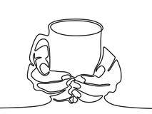 Una taza de la tenencia de la mano del dibujo lineal con té o café ilustración del vector