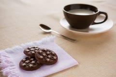 Una taza de leche con las galletas Foto de archivo libre de regalías