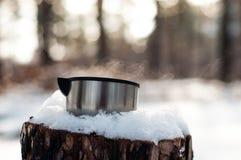 Una taza de soportes calientes del té en un tocón nevado en el invierno, frío, bosque del pino fotografía de archivo