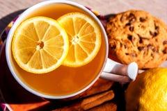 Una taza de té con los pedazos del limón Fotografía de archivo