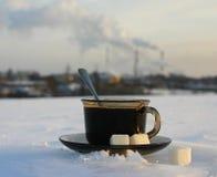 Una taza de té en el hielo Foto de archivo libre de regalías