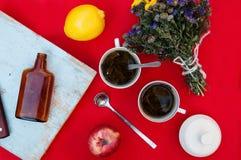Una taza de té, limón en un fondo rojo, comida y bebida, cuchillo y bifurcación, tiempo del té, opinión de tiempo de desayuno des Imagen de archivo libre de regalías