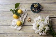 Una taza de té y de iris Foto de archivo libre de regalías