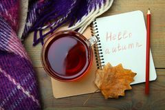 Una taza de té y de un cuaderno Imagen de archivo libre de regalías