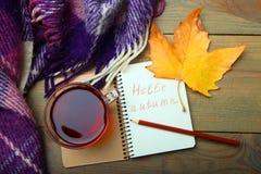 Una taza de té y de un cuaderno Imágenes de archivo libres de regalías