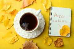 Una taza de té y de un cuaderno Foto de archivo