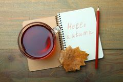Una taza de té y de un cuaderno Foto de archivo libre de regalías
