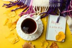 Una taza de té y de un cuaderno Fotografía de archivo libre de regalías