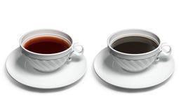 Una taza de té y una taza de café Foto de archivo libre de regalías