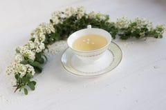 Una taza delicada del vintage rosas Endecha plana Imagenes de archivo