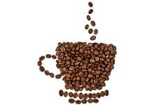 Una taza hecha de los granos de café Foto de archivo libre de regalías