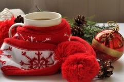 Una taza roja de café caliente, un rojo y el blanco hicieron punto la bufanda con pompones, una ramita del abeto, los conos y las Fotos de archivo libres de regalías