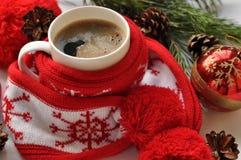 Una taza roja de café caliente, un rojo y el blanco hicieron punto la bufanda con pompones, una ramita del abeto, los conos y las Imagenes de archivo
